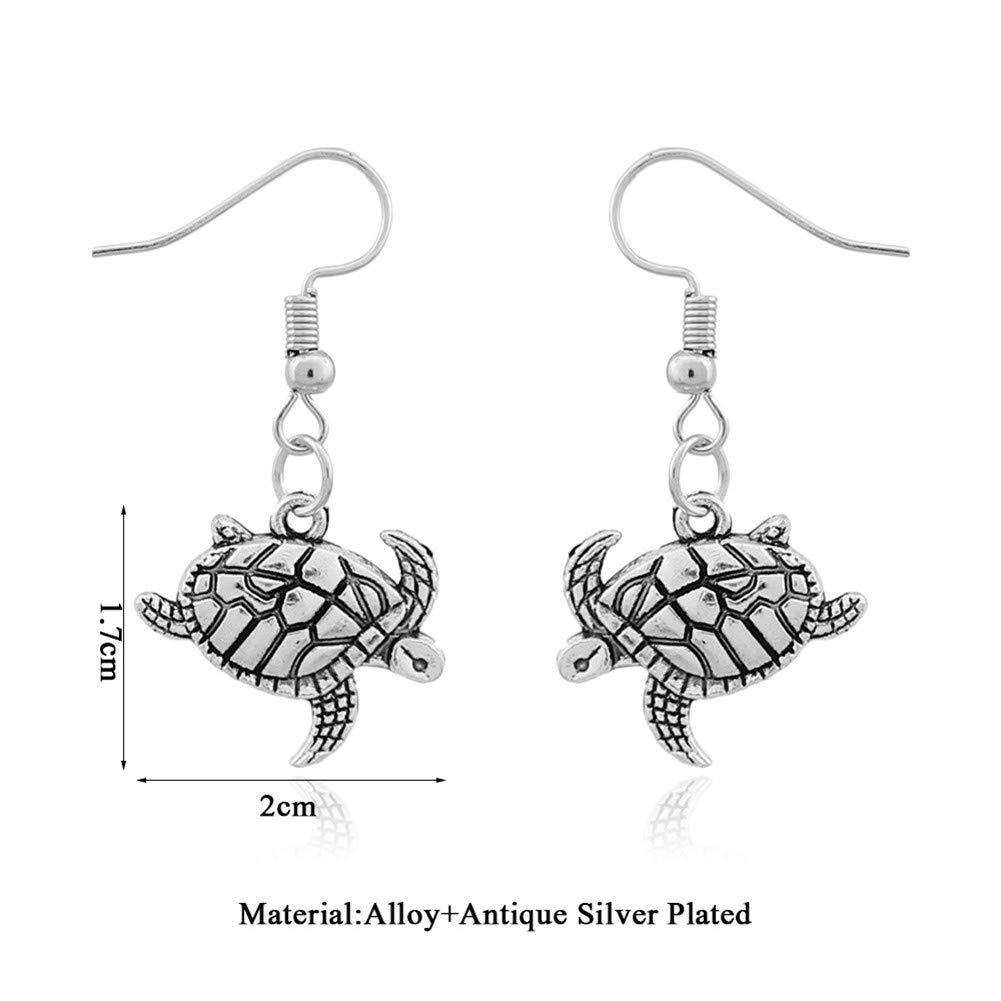 Cute Turtle Dangle Earrings Hook Vintage Sea Tortoise Drop Earrings for Women Girls Fashion Ethnic Beach Ear Jewelry