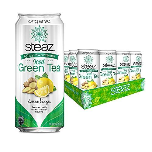 - Steaz Organic Lightly Sweetened Iced Green Tea, 16 OZ (Pack of 12) (Lemon Ginger)