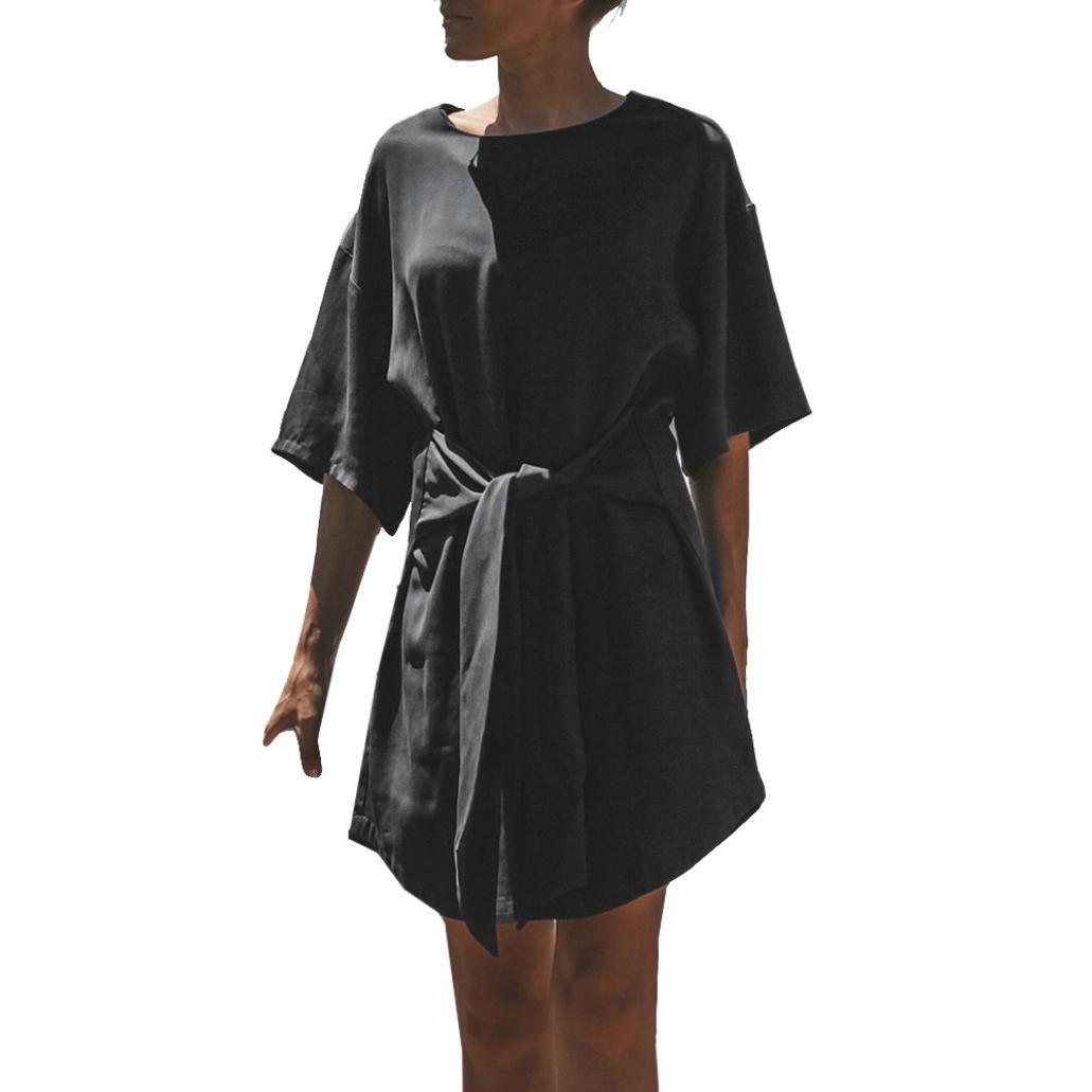 Spbamboo Women's Black Bandage Half Sleeve Dress Evening Party Mini Dress Hot