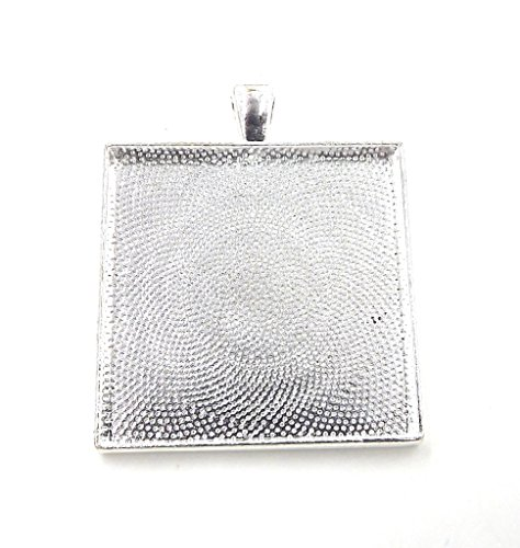 20 Deannassupplyshop Square Pendant Trays - Silver - 35mm - Pendant Blanks Cameo Bezel Settings Photo Jewelry - Custom Jewelry Making
