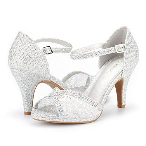 Sandals Fashion Open Stilettos Pump GLITTER Women's PAIRS Heeled Toe DREAM 5 SILVER Amore wXqOzagOt