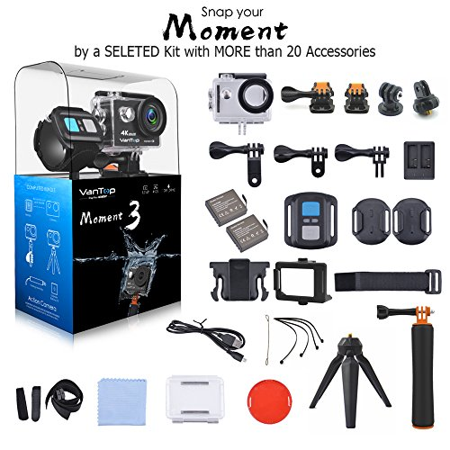 VanTop MOMENT 3 4K Sports Action Camera with 29 GoPro Compatible Accessories Bundle, HD 4K WIFI Waterproof DV Camcorder, 12MP 170 Degree Wide Angle with 2 1050mAh Batteries and 2.4G Remote Control
