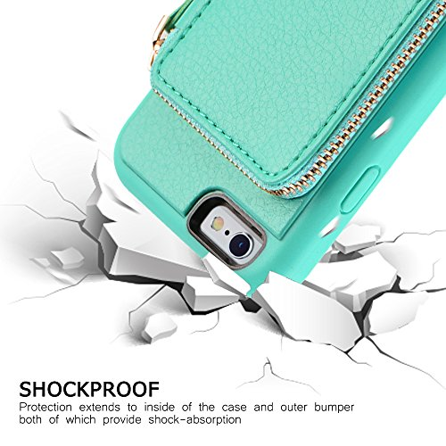 iPhone 6 Wallet Case, iPhone 6 Case with Card Holder, ZVE iPhone 6 Case with Credit Card Holder Slot & Zipper Wallet Money Pockets, Protective Cover for Apple iPhone 6 /6S 4.7 inch - Mint Green by ZVEdeng (Image #8)