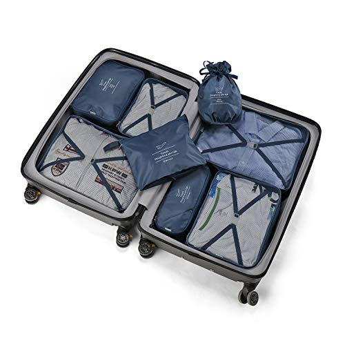 Packing Cubes 8 Sets Latest Design Travel Luggage Organizers Include Waterproof Shoe Storage Bag Convenient Packing Pouches for Traveller (Navy blue)