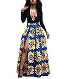 Women's Black Deep V Neck Long Sleeve Sunflower Printed Dashiki Split Long Maxi Dress