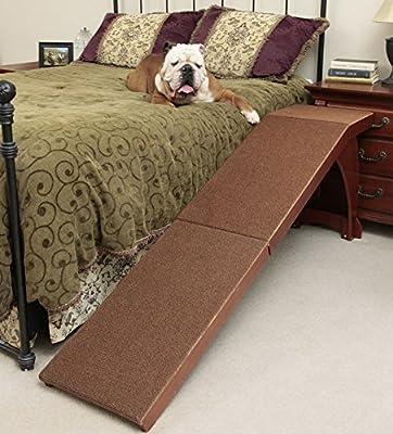 "Pet Supplies Solvit 25"" Bedside Cherry Finished Carpet Pet Dog Ramp"