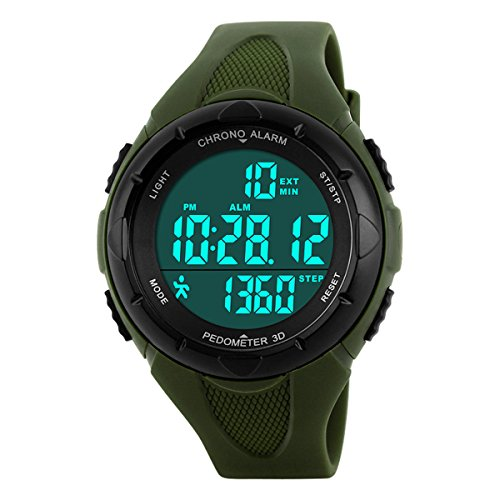 Digital Watches Outdoor Sport Waterproof Multi-Function Swimming Wistwatches with Alarm Stopwatch Watches Army Green