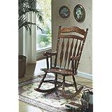 Monarch Specialties Embossed Back Rocking Chair, Dark Walnut