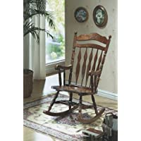 Monarch Specialties Embossed Back Rocking Chair, Dark Walnut