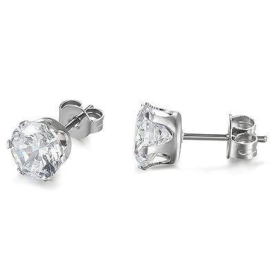 JewelryWe Pendientes Circonita Brillante, Pendientes ...