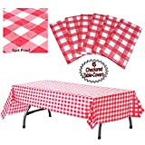 Plastic Checkered Tablecloth | 6 Pcs Pack - 54' Wide x 108' Long | Red and White Picnic Disposable Table Cover | Rectangular Gingham Tablecover for Birthdays, Carnivals, Parties | By Anapoliz