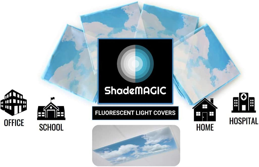 ShadeMAGIC Fluorescent Light Covers for Classroom Office - Light Filter Pack of (4); Eliminate Harsh Glare That Causing Eyestrain and Head Strain. Office & Classroom Decorations. Light Diffusers (4)