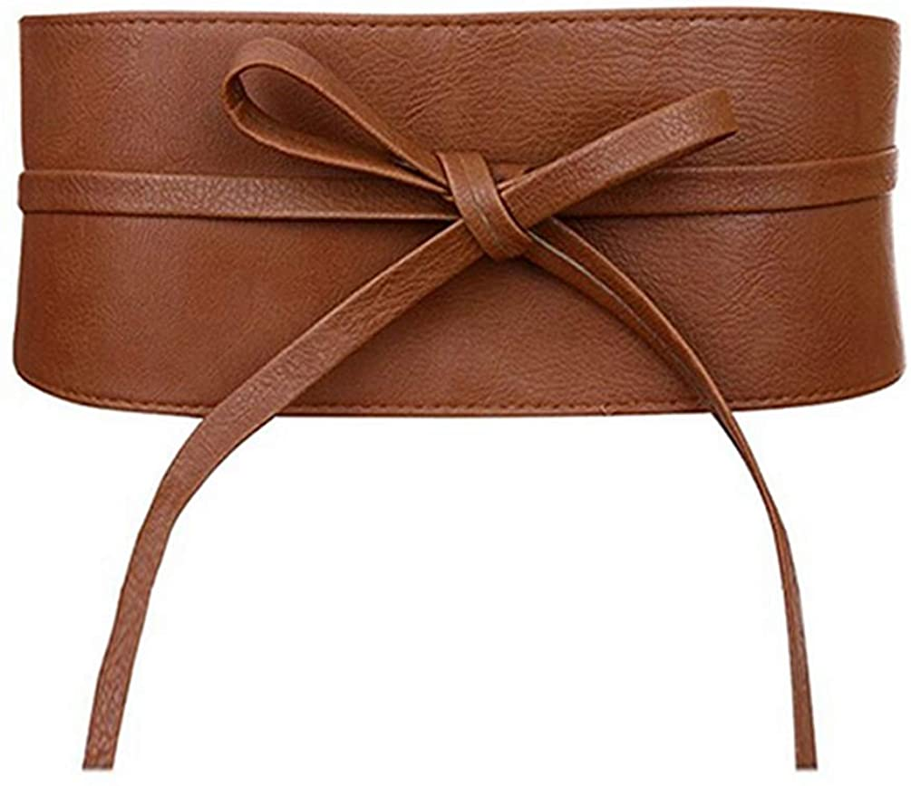 Womens Faux Leather Wide Cinch Belt Waistband Lace Up Wrap Around Obi Bowknot