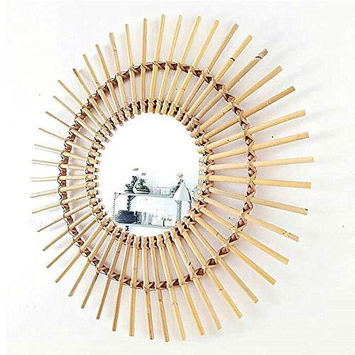 zenggp Bamboo Round Wall Mirror Bamboo Handmade Wall Mounted Retro Makeup Mirror Moroccan - Mirror Moroccan Round