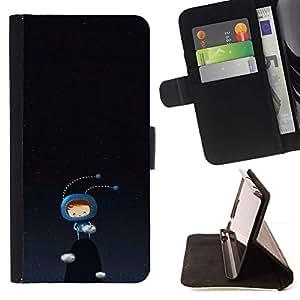 ForSamsung Galaxy S3 MINI i8190 (NOT S3) Case , Monstruo lindo Insecto Negro Azul Oscuro- la tarjeta de Crédito Slots PU Funda de cuero Monedero caso cubierta de piel