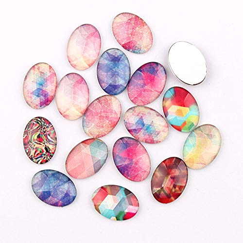 Dalas 1825mm Mixed Style Rainbow Oval Glass Cabochon Dome Jewelry Finding Cameo Pendant Settings 16pcs/lot - (Color: 13x18mm 20pc) ()