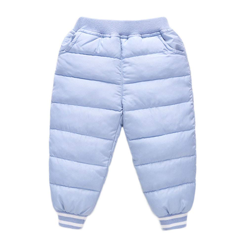 Toddler Baby Boys Girls Winter Thick Warm Puffer Down Snow Pants Kids Warmer Elastic Windproof Trousers (Age:18-24 Months, Pink) Kintaz