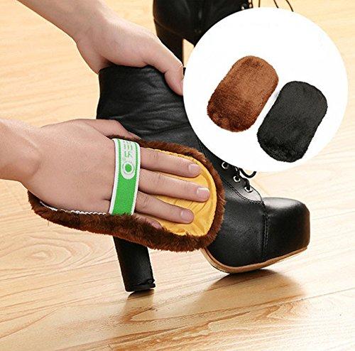 Ben-gi 4pcs Polissage en Peluche Brosse Chaussures polisseur Chaussures lingette de Nettoyage Clean Mitten Gant Couleur al/éatoire