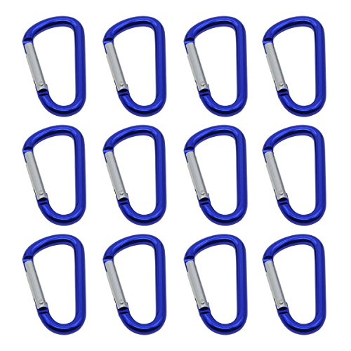 - Saim Aluminum Carabiner D Shape Buckle Keychain Clip, Spring Snap Key Chain Clip Hook, Blue, Pack of 12