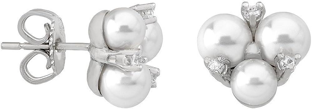 Majorica Pendientes de botón Mujer chapado en plata - 15725.01.2.000.010.1