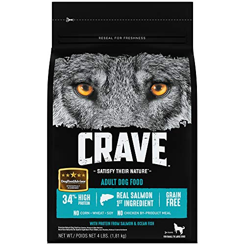 Crave Grain Free With Protein From Salmon And Ocean Fish Dry Adult Dog Food, 4 Pound Bag Adult Dog Food 4lb Bag