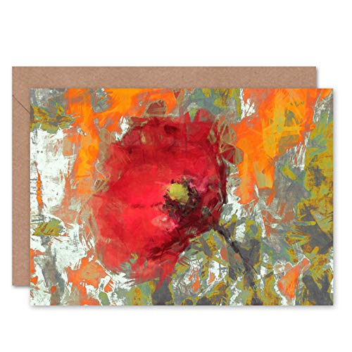 Fine Art Prints Abstract Graffiti Poppy Painting Greeting Card with Envelope Inside Premium Quality (Birthday Poppies Card)