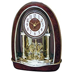 RHYTHM Classic Nightingale Musical Mantel Clock, 8 Crystal Accents, 16 Songs with Candle Holders