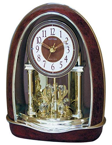 RHYTHM Classic Nightingale Musical Mantel Clock, 8 Crystal Accents, 16 Songs with Candle Holders ()