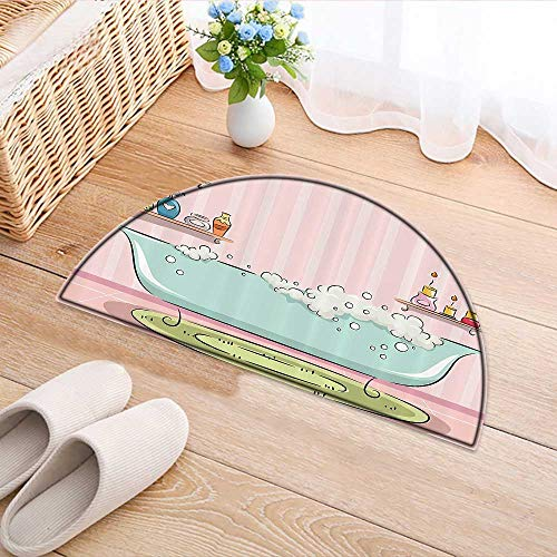 (Semicircle Rugs for Bedroom ecti of Bathtub with Bubbles in Girly Room Aroma Oil Lamps Aromatherapy Circle Rugs for Living Room W31 x H20 INCH)
