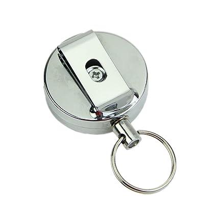 retractil Placa - SODIAL(R)Placa- Placa de soporte retractil tarjeta de acero del metal del anillo de retroceso Tire de la correa de la llave del clip ...