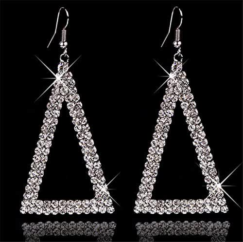 Chokushop Brand Design Triangle Shaped 18k Gold/Silver/Black Color Crystal Drop Earrings Personality Wedding Jewelry G264