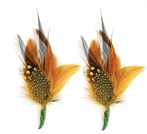 Touch of Nature 2-Piece Feather Pick with Nylon Loop for Arts and Crafts, 6-Inch, Black/Gold/Natural]()