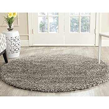 Safavieh Milan Shag Collection SG180-8080 Grey Round Area Rug (3 Diameter)