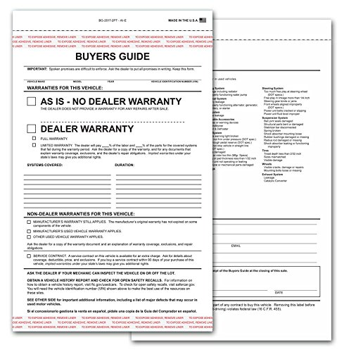 Adhesive Guide - 2-part Buyers Guide Form - Adhesive Tape - English - As Is - Warranty (100 Per Pack)