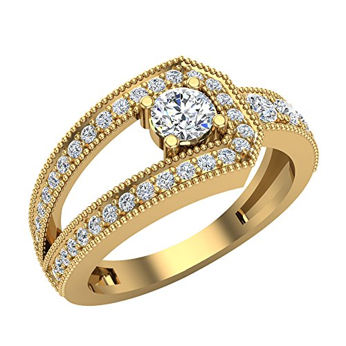 - 0.75 ct tw Diamond Buckle Ring 14K Yellow Gold (Ring Size 5.5)