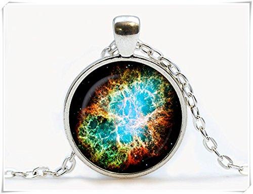 Beautiful Dandelion Crab Nebula Glass pendant. Galaxy necklace. Space, universe jewelry