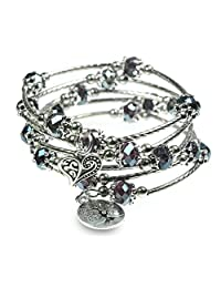 Tree of Life and Heart Charm with Iridescent Purple Beads 5X Wrap Silver-Tone Bangle Bracelet