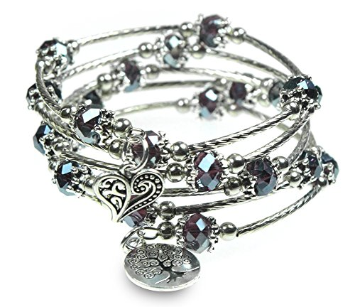 (Tree of Life and Heart Charm with Iridescent Purple Beads 5X Wrap Silver-Tone Bangle Bracelet)