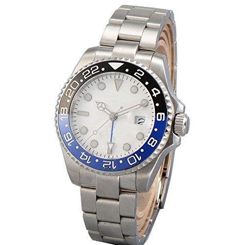 Parnis 40mm White Dial Blue Black Ceramic Bezel GMT Dual Time Automatic Movement Men's Watch Luminous ()