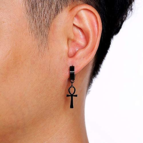 Eternal Cross Egypt Cleopatra Ankh Earrings for Men Jewelry Antiqued Black Stain