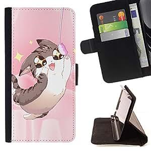 Momo Phone Case / Flip Funda de Cuero Case Cover - Arte japonés del animado del gato feliz Johnsu; - LG G4c Curve H522Y (G4 MINI), NOT FOR LG G4