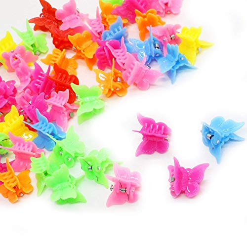 Butterfly Mini Clips - 50 Pcs Mixed Color Mini Plastic Beautiful Butterfly Hair Clips Hair Accessories Hair Clip for Women Lady and Girls(Random Color)