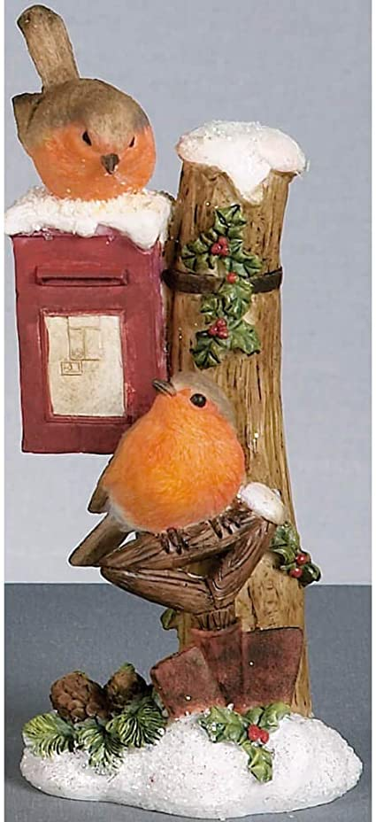 Robin perched on a Post Box Christmas Tree Hanging Ornament decoration xmas red