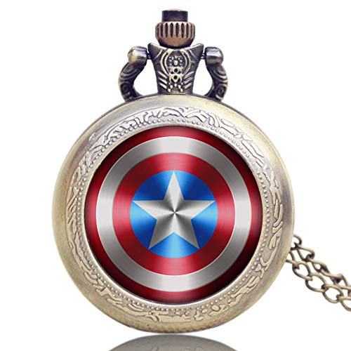 Captain America's Shield Quartz Pocket Watch for Men, Star Pendant Mini Pocket Watch Xmas Gift ()