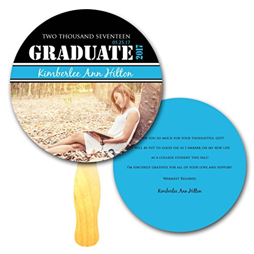 - Circle Shaped Custom Printed Graduation 'Thank You' Program Hand Fans - Set of 20 - Double sided Full Color Cardstock on Wooden Wavy Sticks