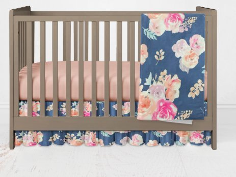 Girls Vintage Blue Floral Crib Bedding Set- 3 Piece Girl crib bedding set with solid coral sheet- Handmade in the USA by Twig + Bird