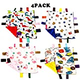 GRACEON 4 Pack Baby Comfort Blanket with Tag - Taggy Blanket - Comfort Security Blanket Great Gift for Toddler Child...