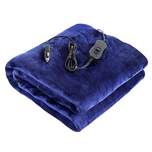 (JoyTutus Car Electric Heated Blanket RV Flannel Travel Throw Powered by 12V Cigarette Lighter Socket)