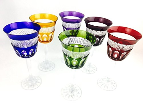 Colored Wine Glasses Crystal - Handmade Crystal Wine Glasses by Valéry Klein - Set of 6 Colored Wine Glasses 18cl Signed by Crystal Klein 54120 BACCARAT FRANCE - Gift