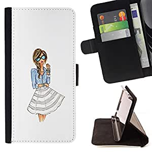 - dress fashion girl woman white glasses - - Prima caja de la PU billetera de cuero con ranuras para tarjetas, efectivo desmontable correa para l Funny HouseFOR Samsung Galaxy S5 V SM-G900